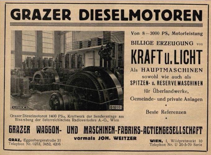 Grazer Waggon- & Maschinenfabriks-Aktiengesellschaft, Werbeanzeige 1933
