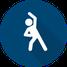 Symbol für das Medizinische Fitnesstraining - Mensch in Gymnastik Position