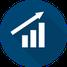 Icon betriebliches Gesundheitsmanagement - aufwärts steigende Unternehmenskurve