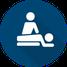 Symbol für die Physiotherapie - stilisierte Darstellung liegender Patient und behandelnder Physiotherapeut