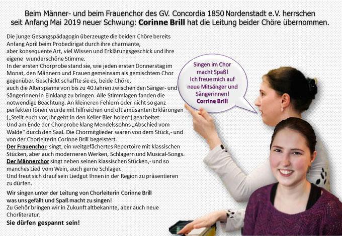 Corinne Brill, Chorleiterin Männerchor, Frauenchor Concordia Nordenstadt Wiesbaden