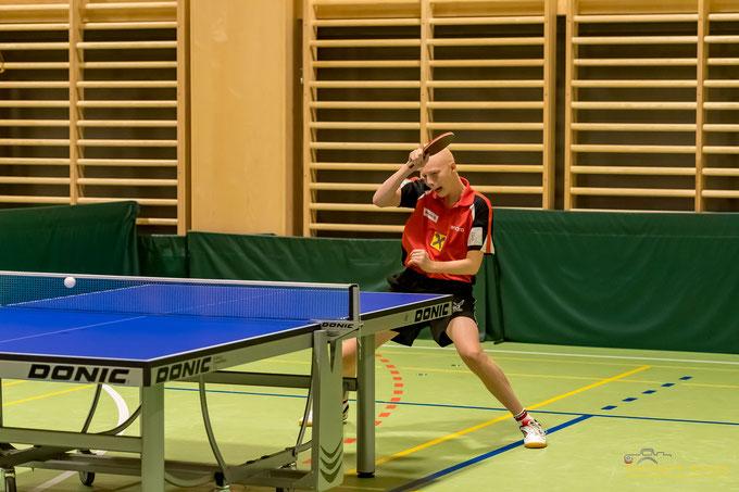Dominik Tarmann war mit zwei Siegen zur Stelle. Sein Match gegen Pichler war das Zünglein auf der Waage gegen Kapfenberg. Foto: Krickl