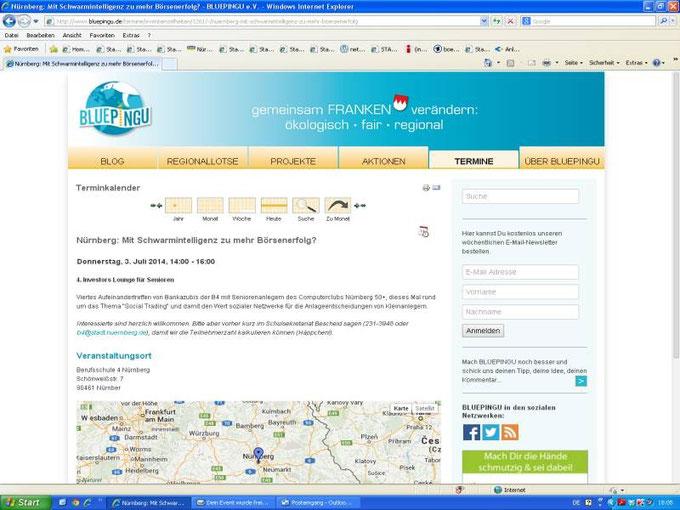 Ankündigung der Veranstaltung auf der Nachhaltigkeitsplattform BluePingu (Screenshot vom 30.06.2014)