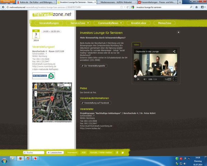 Hinweis im Veranstaltungskalender für Nürnberg und Erlangen mehrwertzone.net (Screenshot vom 01.07.2014)