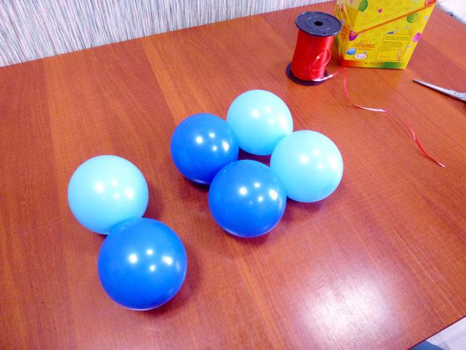 Двойки воздушных шаров, из которых скручиваются кластеры для панно из воздушных шаров