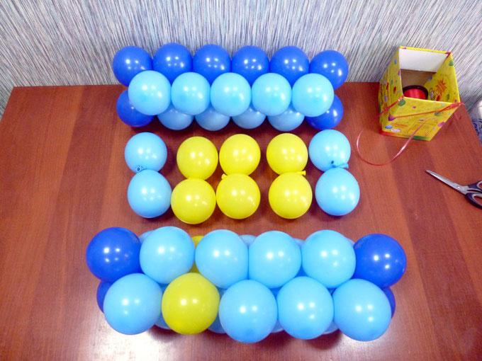 Строки панно и двойки (кластеры) для панно из воздушных шаров