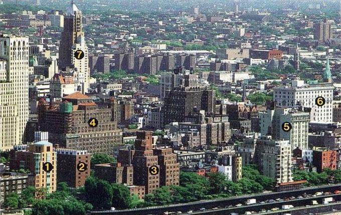 Цифрами отмечены здания Общества Сторожевой Башни в Бруклине