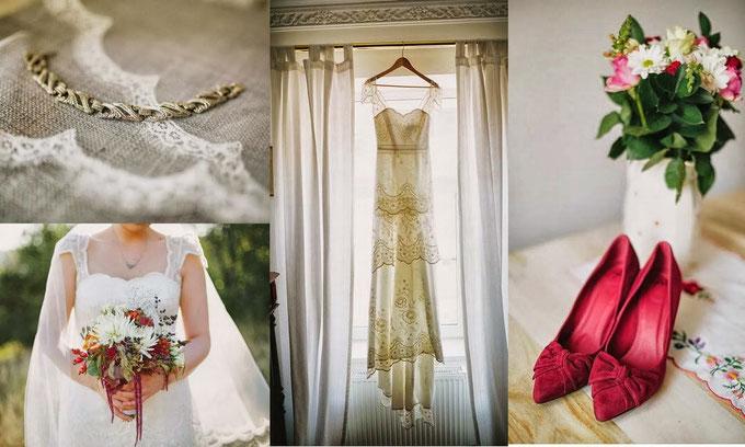 Brainstorming der Hochzeit - wie sieht mein Schmuck, mein Kleid, meine Blumen, meine Schuhe aus.