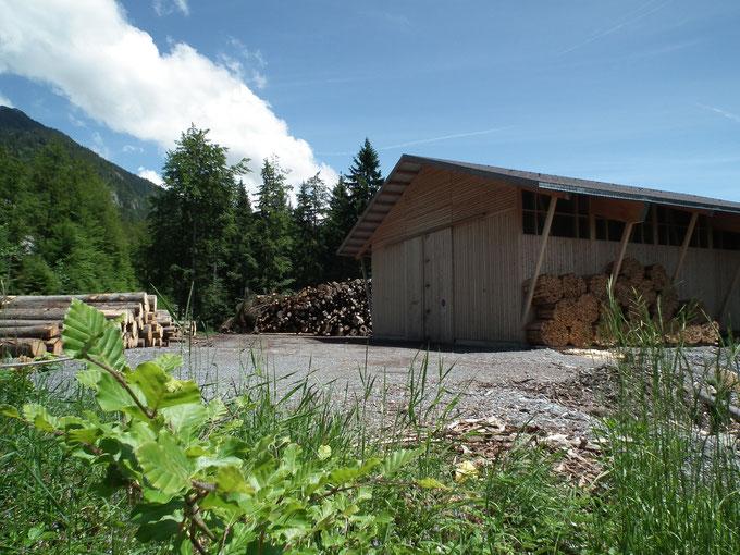 Brennholzlagerhalle
