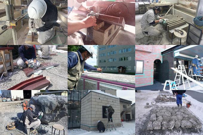 清水大理石工業建築石材施工風景
