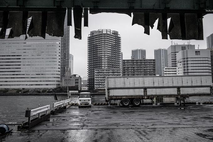 Tsukiji Fish-Market am Sumida River in Tokyo, Japan als Farbphoto