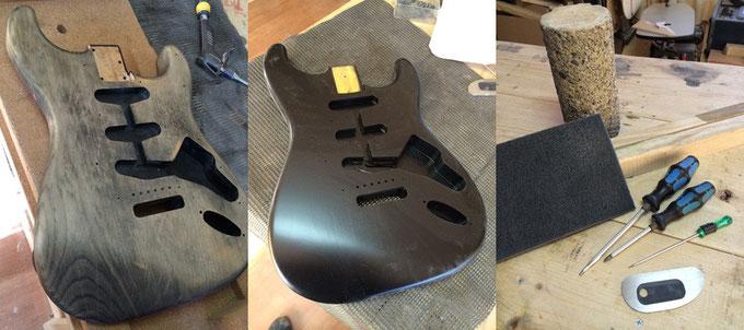 黒く再塗装されたボディ