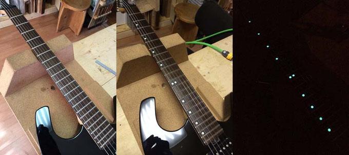 ポジションマークの無いギターにLuminlayをインストールしました