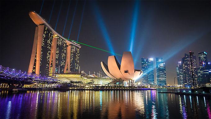 Espectáculo de luces en la bahía de Singapur