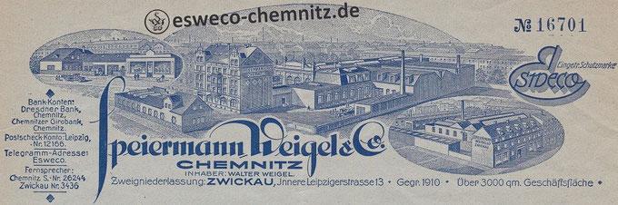Briefkopf: Fabrikgebäude in Chemnitz, Autohandel und Zweigniederlassung in Zwickau um 1930