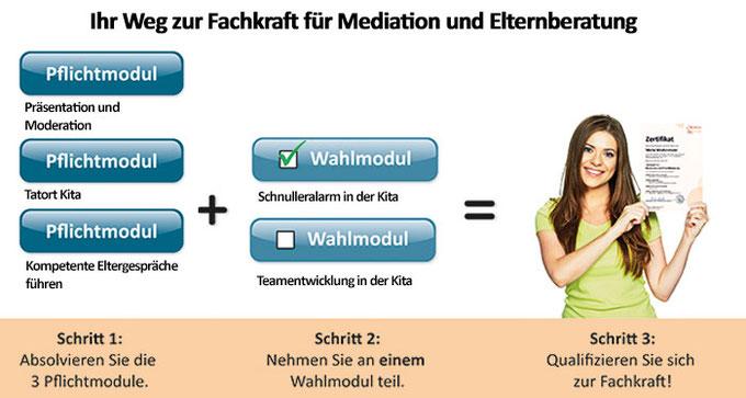 Ihr Weg zur Mediations und Elternberatungs-Fachkraft: 3 Pflichtseminare und ein Wahlseminar zur Spezialisierung
