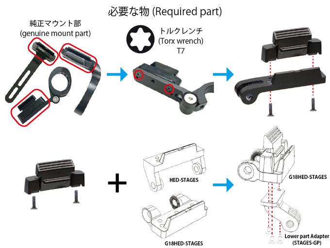 ※純正マウント装着のブラケットが必要です。  工具はトルクス(T7) が必要です
