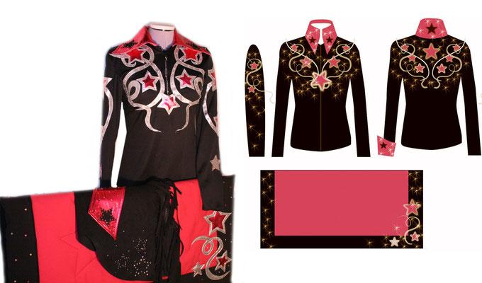 Rechts das Fertige Outfit---Links der Entwurf