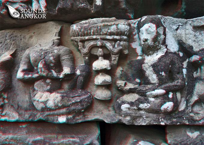 L'arbre à trois cloches du Bayon, version anaglyphe. Nécessite des lunettes rouge et bleu pour un rendu en relief.