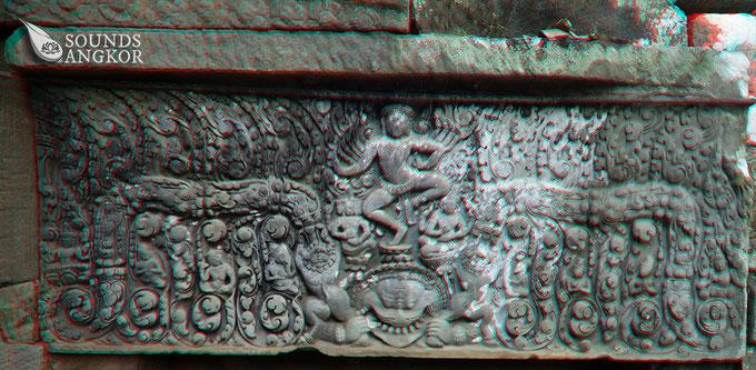 Image anaglyphe de la danse de Shiva du Sanctuaire U. Nécessite des lunettes rouge et bleu pour voir le relief.