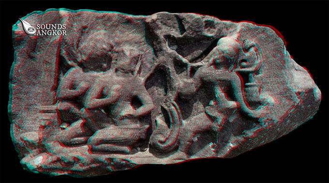 Porteur de cloches du Baphuon, version anaglyphe. Nécessite des lunettes rouge et bleu pour un rendu en relief.