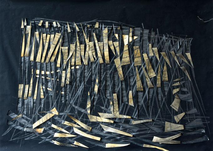 tepui  /  mt.  roraima  2014    paper  graphite  gold leaf    50  x  70   cm