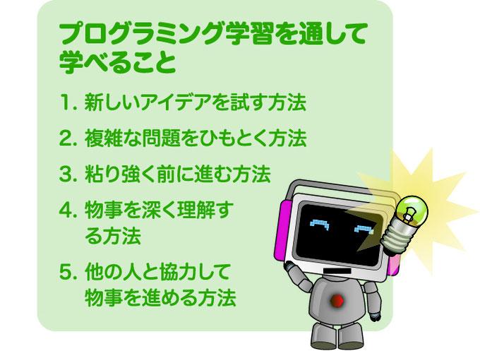子供たちがこれからグローバル社会で活躍するために、産業構造の構築に関わりの深いSTEM領域(Science=科学、Technology=技術、Engineering=工学、Mathematics=数学)を学習する機会が増えることでしょう。これらには「21世紀型スキル」の習得が欠かせません。このスキルを身につける最適な学習が、ロボットプログラミング講座「もののしくみ研究室」です。   この講座は、今後複雑になっていくであろう中学、高校、大学受験に向き合い、ロジカルな思考回路を養う上で大変有効です。