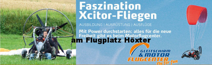 Rundflug Xcitor am Flugplatz Höxter im Weserbergland
