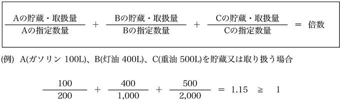図. 2種類以上の危険物指定数量を求める計算式