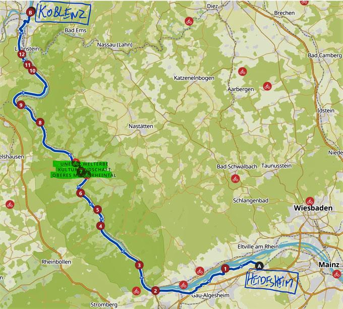 RheinRadweg Etappe Heidenfahrt(Ingelheim)- Koblenz (Festung)