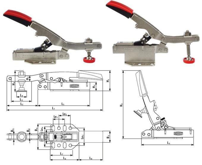 Variable Kniehebelspanner ( Waagrechtspanner) mit offenem Arm und waagerechter Grundplatte