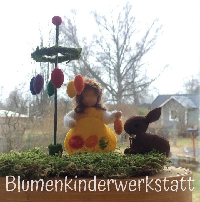 BlumenkinderwerkstattOsterkind mit  Osterhase und Osterbaum