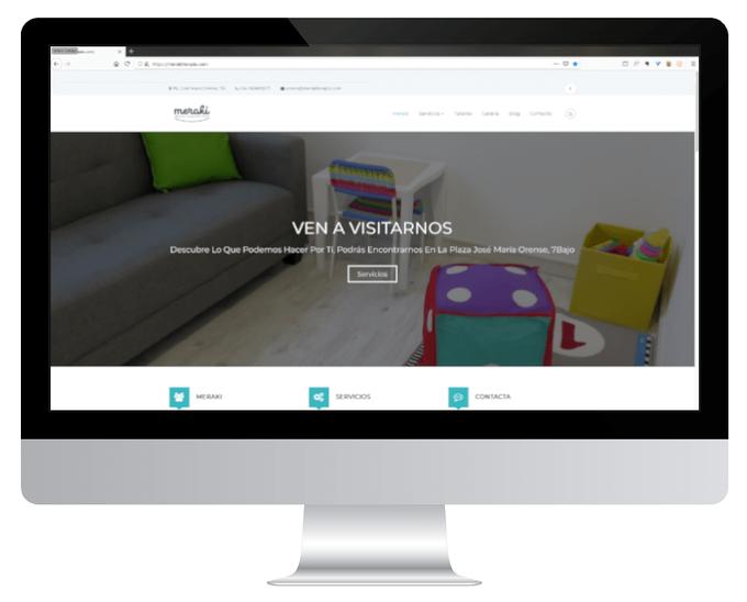 Página web de Meraki, Atención y Desarrollo infantil