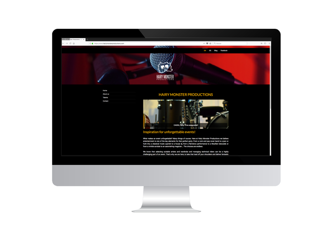 Montaje de página web de Hairy Monster Productions