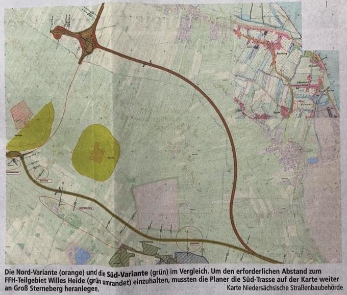 Die Nord-Variante (orange) und die Süd-Variante (grün) im Vergleich. Um den erforderlichen Abstand zum FFH-Teilgebiet Willes Heide (grün umrandet) einzuhalten, mussten die Planer die Süd-Trasse auf der Karte weiter an Groß Sterneberg heranlegen.