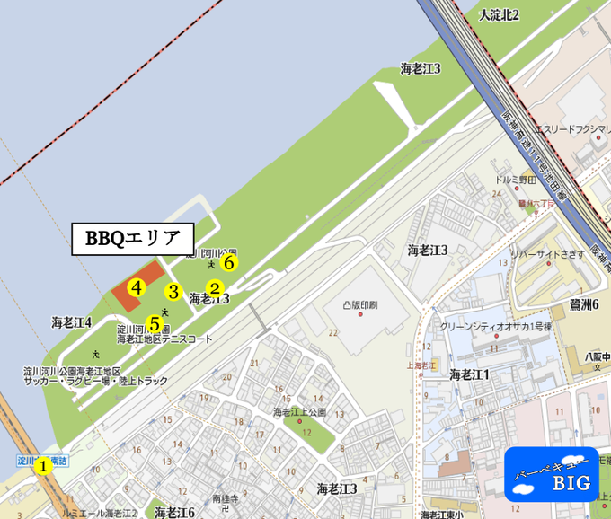 海老江地区BBQマップ
