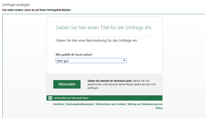 Umfrage Excel online gratis bei Empfänger