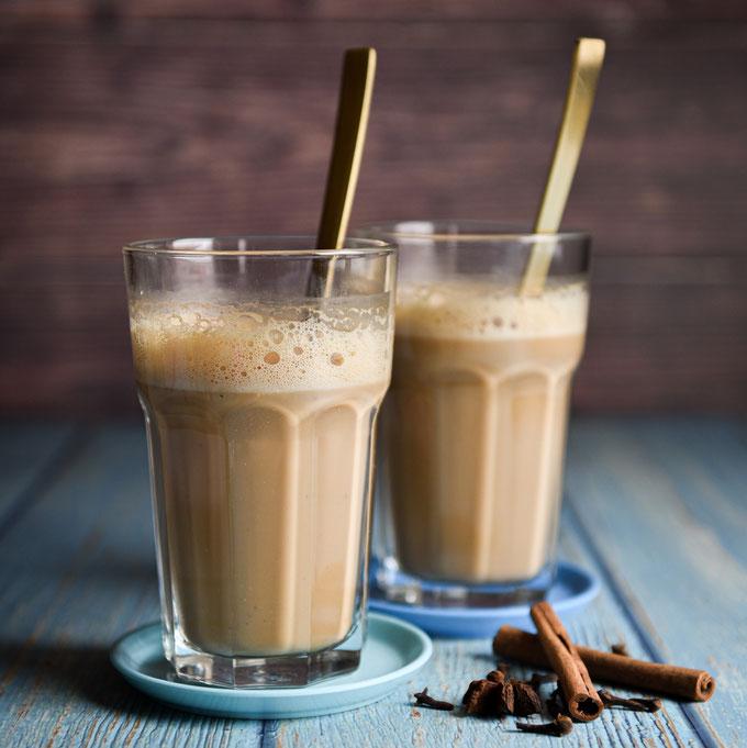 Chai Tee Latte, indischer Milk Tea, mit Hafermilch, vegan, Thermomix