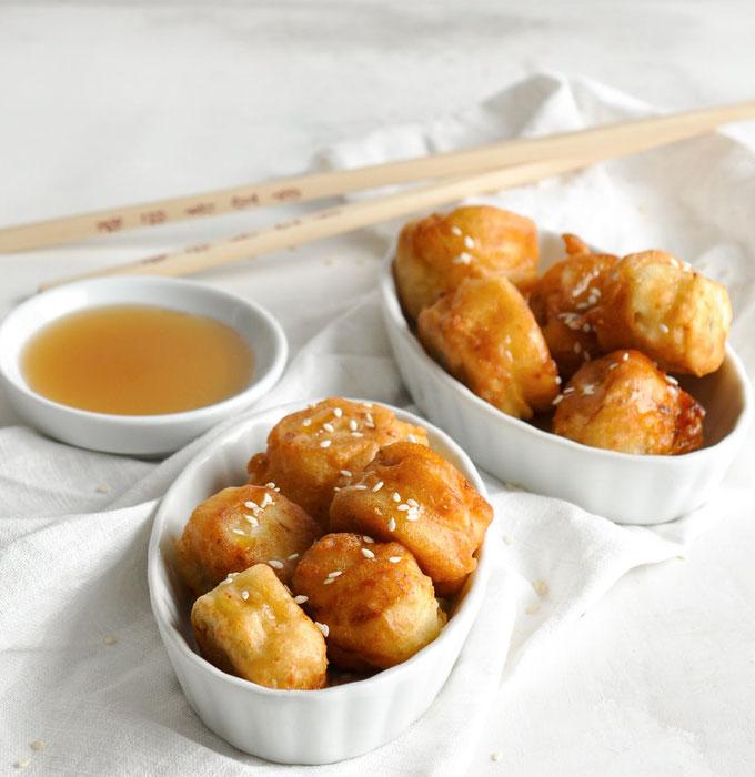 Gebackene Bananen mit Honig oder Ahornsiup und Sesam, Thermomix, vegan, vegetarisch, chinesisches Dessert.