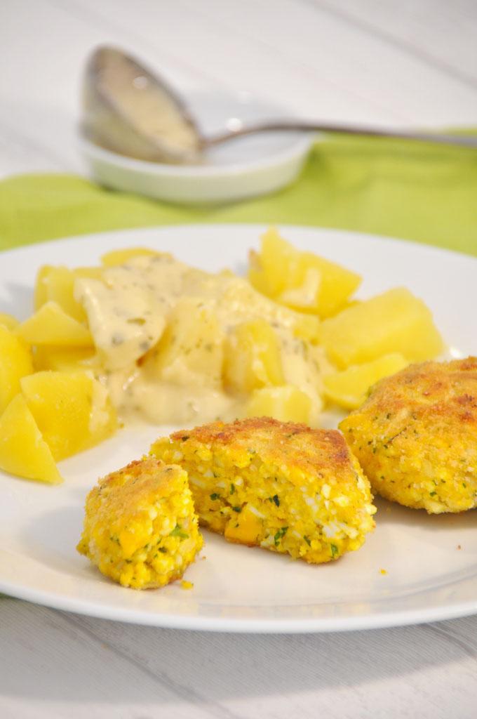 Eierfrikadellen mit Senfsoße und Kartoffeln, Thermomix