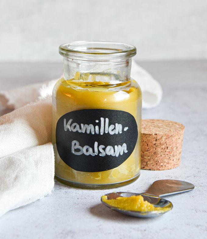 Pflegender Balsam mit Kamille für trockene Haut und bei Neurodermitis, selbst gemacht, Thermomix