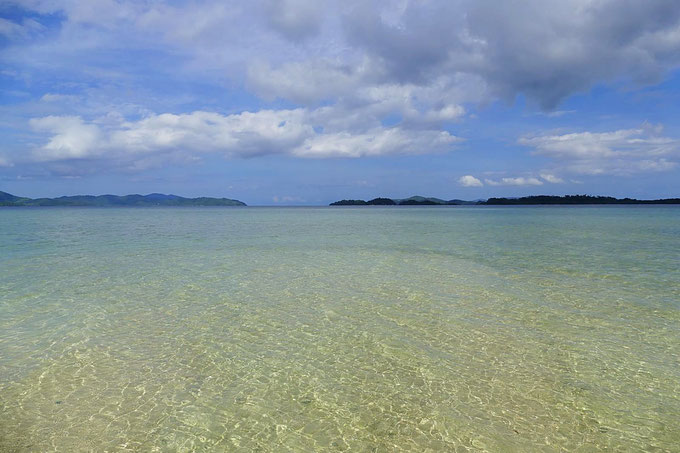 Island Hopping in Port Barton am Sandbay. Dort hat es viele grosse Seesterne.