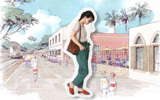 ドゥクラッセTシャツ B:『タックスリーブ』で街へ Tシャツコーデ