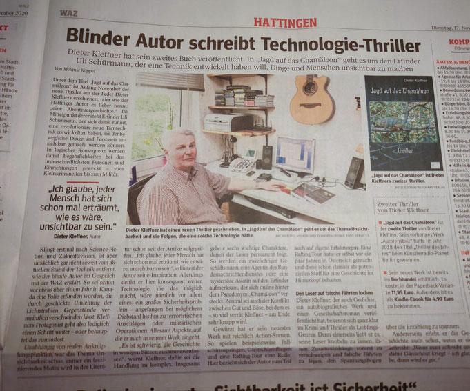 """Fotografie eines Zeitungsartikels der WAZ vom 17.11.2020 mit dem Titel """"Blinder Autor schreibt Technologie-Thriller"""""""