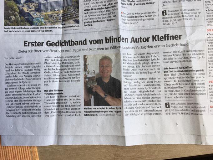 """Fotografie der Zeitungsseite mit dem Artikel """"Erster Gedichtband vom blinden Autor Dieter Kleffner"""""""