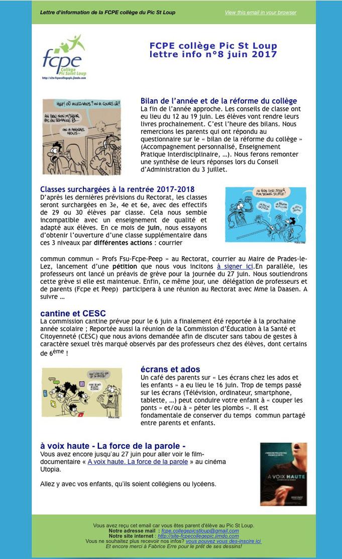 fcpe.collegepicstloup@gmail.com, college Pic St Loup, infolettre
