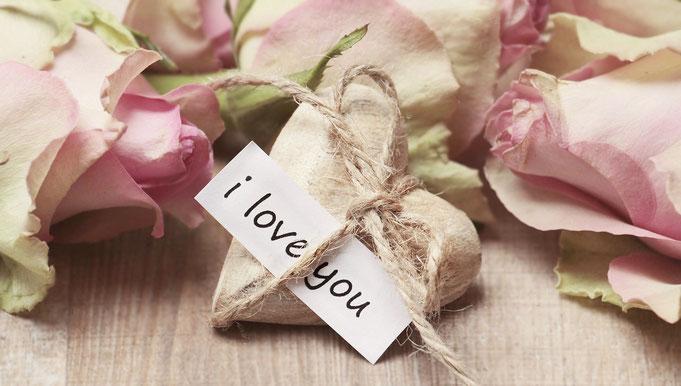 rosa Rosen, Herz, Text I love you