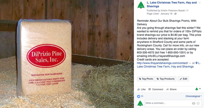 Facebook ad promoting shavings sale and new delivery areas. Targeted to horse owners.