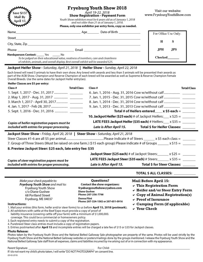 Fryeburg Youth Show exhibitor registration form. Show organizers save money on printing and mailing costs by having all forms available for download at their website.