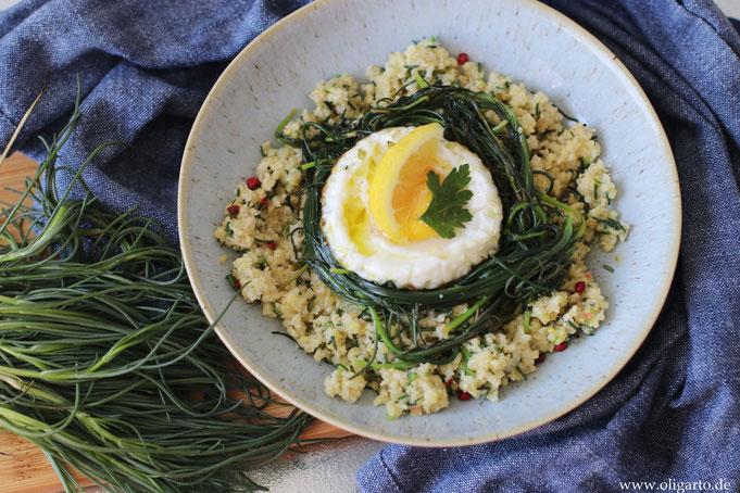 Mönchsbart mit Hirse und Spiegelei Oligarto Rezepte Kochen  mit Olivenöl